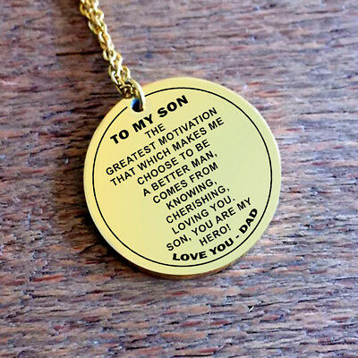 Father and Son Necklace - You are my Hero - Best Gift for Son from Dad