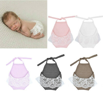 Baby Girl Lace Backless Halter Romper Newborn Photography Props Princess Clothes