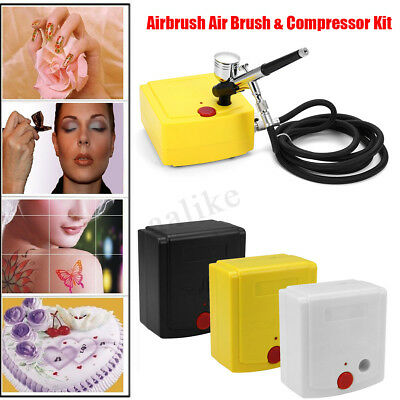 Cake Art Craft Airbrush Compressor Kit Tattoo Nail Painting Spray Gun 25 PSI 12V