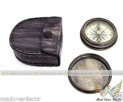 Nautical Antique Style Brass Boy Scouts Robert Frost Poem Compass With Leather