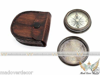 Nautical Antique Brass Boy Scouts Robert Frost Poem Compass With Leather Cover