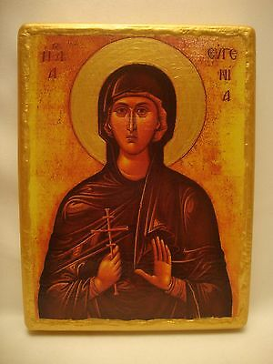 Saint Eugene Evgenia Greek Russian Orthodox Old World Icon Art One of A Kind