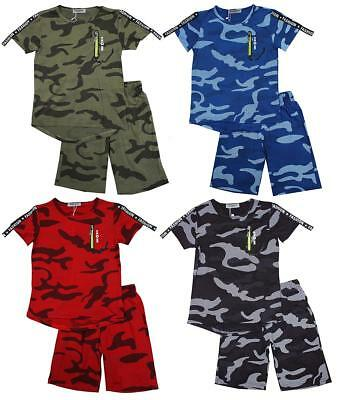 Boys T-Shirt Shorts Army Camo Faux Neon Zip Outfit Summer Set 3 to 12 Years