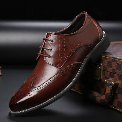 New Fashion Men's Shoes Dress Formal Brogue Wing Business Suit Oxfords Lace up