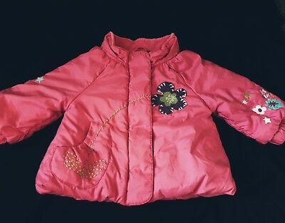 NEXT baby Girls pink rain coat hooded with embroidery jacket warmer age 9 months