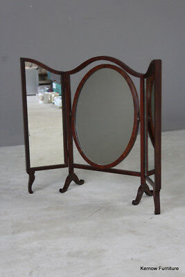 Antique Edwardian Mahogany Dressing Table Oval Swing Mirror