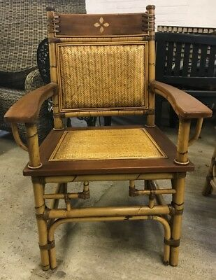 6 Wooden All Carver Dining Chairs In Bamboo/ Ratan Style Rustic Woven