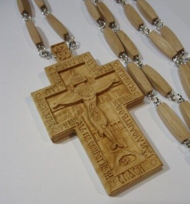 NEW!!! Exclusive Pectoral Cross Wooden Hand Carved Crucifix + Chain #10