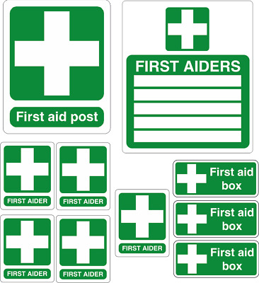 First Aid pack of stickers decals, high quality waterproof vinyl x 10 stickers