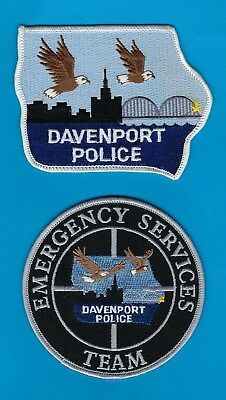 DAVENPORT POLICE DEPARTMENT PATCH SET ~ IOWA ~ AN AWESOME COLLECTOR's SET ~ L@@K