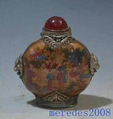 Eximious Chinese Scenery Inside Hand Painted Glass Snuff Bottle