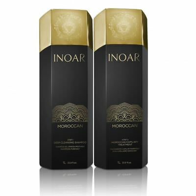 Inoar Moroccan Brazilian Keratin Treatment Blow Dry Hair Straightening 1L Kit