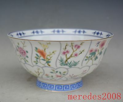 6.3 inch China porcelain Hand Painted Flowers Bowl Qing Dynasty Qianlong Mark
