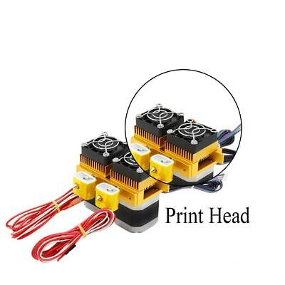 Metal solid two Print Head 1.75/0.3mm dual extruder MK8 for 3D Drucker Maker Bot