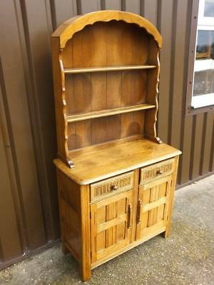 Priory Light Solid Oak Narrow Dome Topped Dresser, 2 Drawers Over  Cupboard.