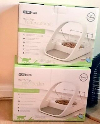 2 NEW SureFeed Microchip Sealed Pet Feeder Cat / Small Dog Bowl OFFER SAVES $$$