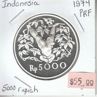 Indonesia 5000 Rupiah 1974 Silver Proof