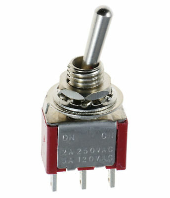 MINI TOGGLE SWITCH 6A-125V # 66-1255-2PK ON//OFF//ON 2PK DPDT C//OFF MOM ONE SIDE