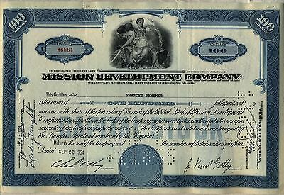 Mission Development Company Stock Certificate J. Paul Getty