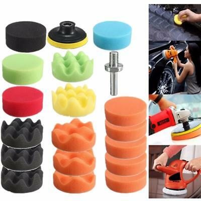 19Pcs Car Vehicle 80mm Polishing Pad Polisher with M10 Drill Adapter Kit Set