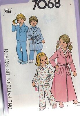 b548c1f0ef Sewing Pattern Simplicity 7068 Girls Boys Pajamas   Robe (2 Lengths) Sz. 3