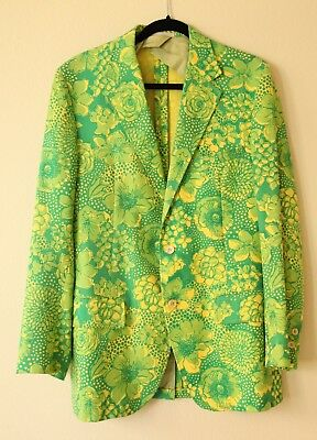 Lilly Pulitzer Mens Stuff Palm Beach Jacket Green Yellow Vintage 70s Floral Coat