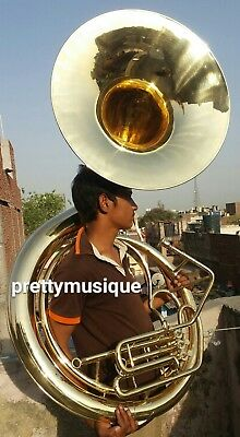 "Sousaphone 25"" Big Bell Brass Made In Brass Polish+ Free Case + Mp+Free Shipping"