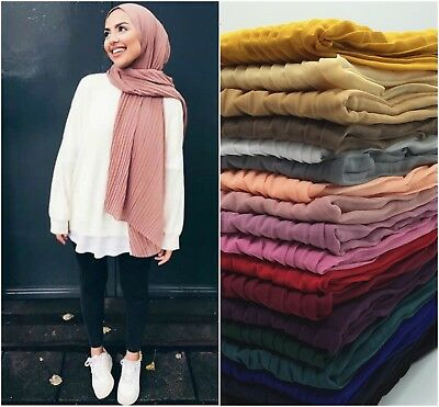 MAXI Soft Bubble Chiffon Plain Pleating Corrugated Scarf Hijab 180 x 85 cm