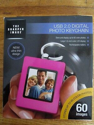 """New THE SHARPER IMAGE USB 2.0 Digital Photo Keychain Rechargeable 1.5"""" LCD Pink"""