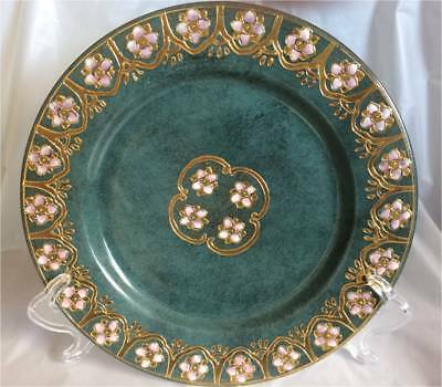 Toyo, Gold Green Pink Floral Design Decorative Plate 10 1/2""