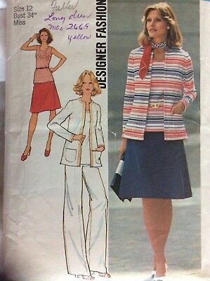 VTG 74 SIMPLICITY 6793 Misses Unlined Cardigan Top Skirt & Pants PATTERN 12/34B