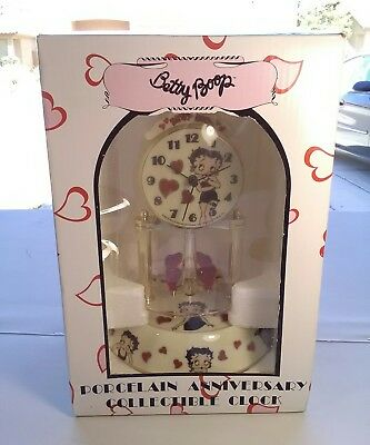 Betty Boop Porcelain Anniversary Collectible Clock 2010 Glass Dome In Box