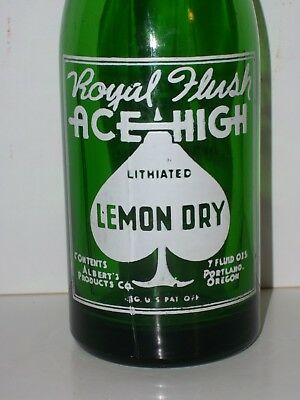 NM1946 ACE HIGH 7oz GREEN Lithiated Lemon Dry ACL Royal Flush BOTTLE Portland,OR