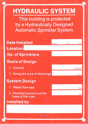 "Automatic Sprinkler Hydraulic System Design Calculation Aluminum Sign  5"" x 7"""