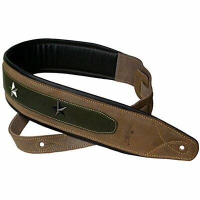 Straps Star Studded Brown Suede Wide Padded Leather Guitar Bass Strap By