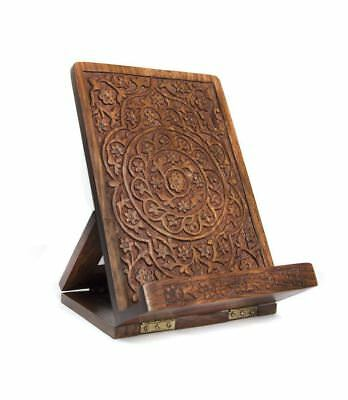 NEW Handmade Fair Trade Carved Rosewood Tablet and Book Easel - Matr Boomie (B)