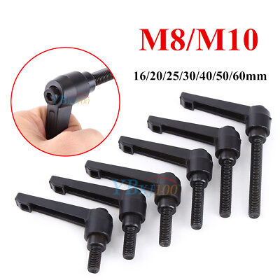M8/M10 16-60mm Alloy Male Thread Clamping Lever Adjustable Handle Knob Black oe