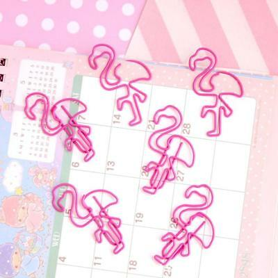 30pcs Cute Pink Flamingo Shape Paper Clips Creative Colorful Clip Bookmarks ~~