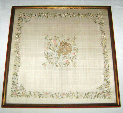 Antique 19th c. Chinese Hand Embroidered Silk Panel Paradise Bird Floral Border