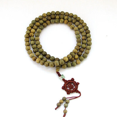 Fragrant 108 8mm Green Sandalwood Prayer Beads Dharma Wheel Mala Necklace