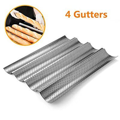 Perforated Baguette Allows Air Pan Non-Stick French Bread Wave Loaf Bake Mold KV