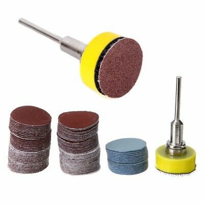 1/8'' 25mm Hook & Loop Sanding Backing Pad Palm Shank + 100x Sandpaper Disc