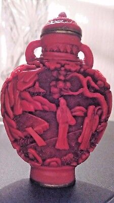 Antique Chinese Carved Cinnabar Snuff Bottle with Qianlong Mark c.1890's 6 cm