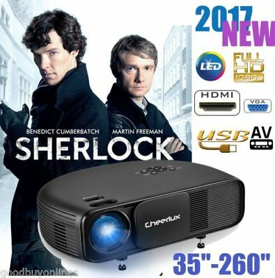 4500Lumens Mini 1080P HD LED 3D Projektor Movie Heimkino Beamer HDMI/USB/AV/TV