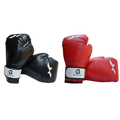 AU Kids Black Red Boxing Training Gloves Junior Punching Bag Mitts Muay Sparring