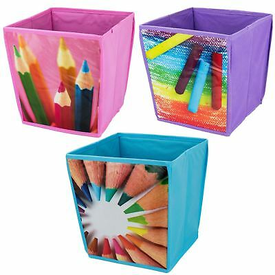 Colourful Storage Cube Square Waste Basket Paper Bin Kids Students Bedroom