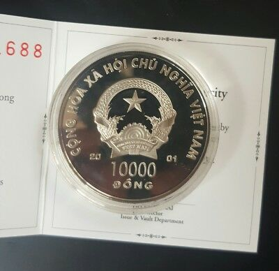 2001 VIETNAM Luner Year of the Snake 20GM HOLOGRAM SILVER PROOF COIN 10000 DONG