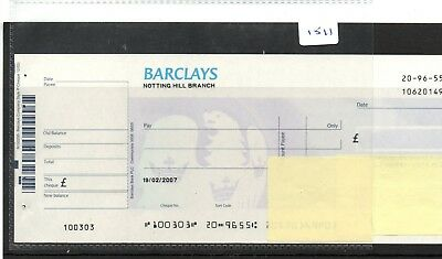 CHEQUE - CH1511 - UNUSED - post 1971 - BARCLAYS BANK, NOTTING HILL, + c/foil