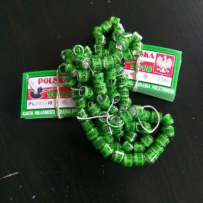 10 x PL FCI 2018-8mm original rings with owner card for racing pigeons crown