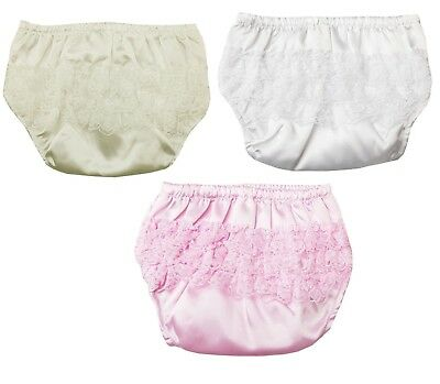 Baby Girls Satin Frilly Pants Nappy Covering Pants 0-6 & 6-12 Months FP03